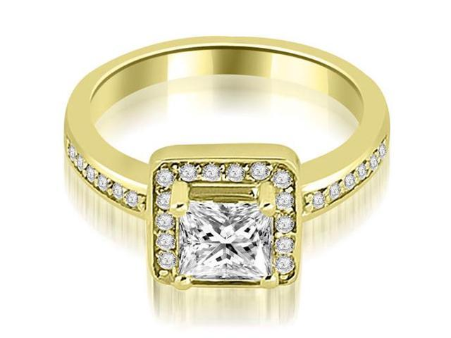 0.80 cttw. Halo Princess and Round Cut Diamond Engagement Ring in 14K Yellow Gold