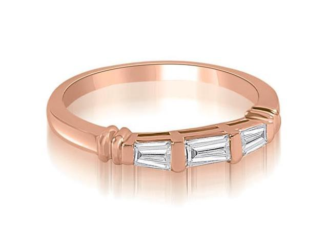 0.25 cttw. 3-Stone Bar Set Baguette Diamond Wedding Ring in 18K Rose Gold (VS2, G-H)