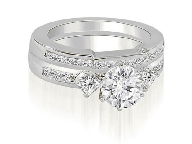 2.15 cttw. Round And Princess Cut Diamond Bridal Set in 18K White Gold