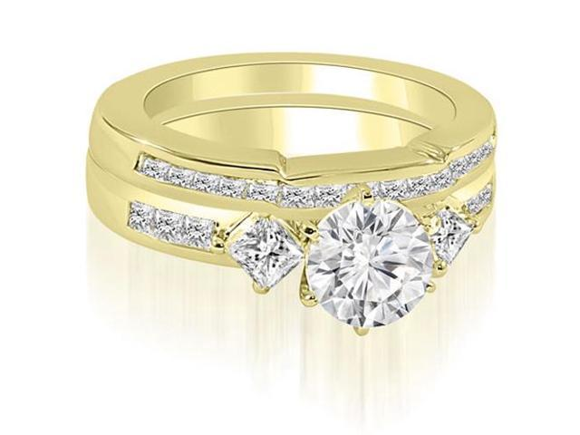 1.60 cttw. Round And Princess Cut Diamond Bridal Set in 18K Yellow Gold