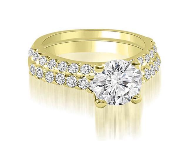 1.05 cttw. Cathedral Round Cut Diamond Bridal Set in 14K Yellow Gold