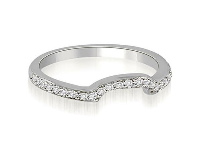 0.20 cttw. Curved Round Cut Diamond Wedding Band in 14K White Gold