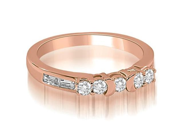 0.60 cttw. Round and Baguette Diamond Wedding Band in 18K Rose Gold