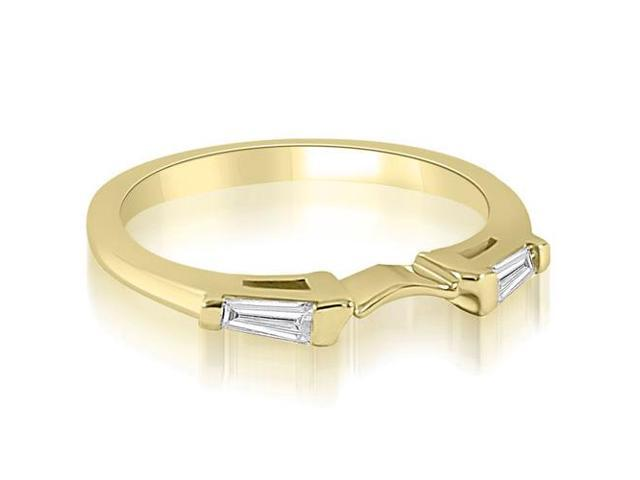 0.15 cttw. Curve Bar Set Baguette Diamond Wedding Ring in 18K Yellow Gold (SI2, H-I)