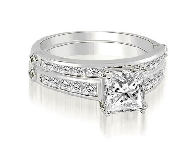 2.20 cttw. Channel Set Princess Cut Diamond Bridal Set in 18K White Gold