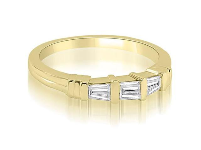 0.25 cttw. 3-Stone Bar Set Baguette Diamond Wedding Ring in 18K Yellow Gold (SI2, H-I)