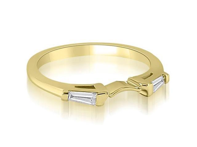 0.15 cttw. Curve Bar Set Baguette Diamond Wedding Ring in 14K Yellow Gold (SI2, H-I)