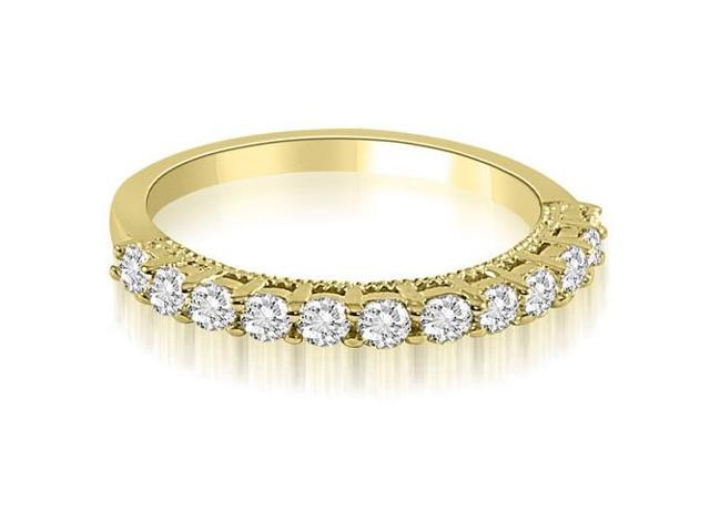 0.60 cttw. Prong Set Round Cut Diamond Wedding Band in 14K Yellow Gold (SI2, H-I)