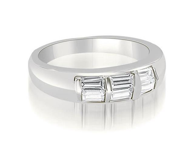 0.70 cttw. Bar Set Baguette Diamond Wedding Band in 18K White Gold (SI2, H-I)
