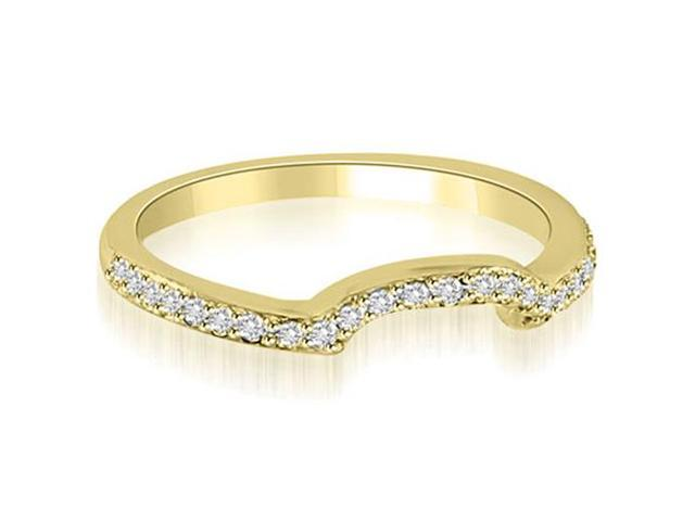 0.20 cttw. Curved Round Cut Diamond Wedding Band in 14K Yellow Gold (VS2, G-H)