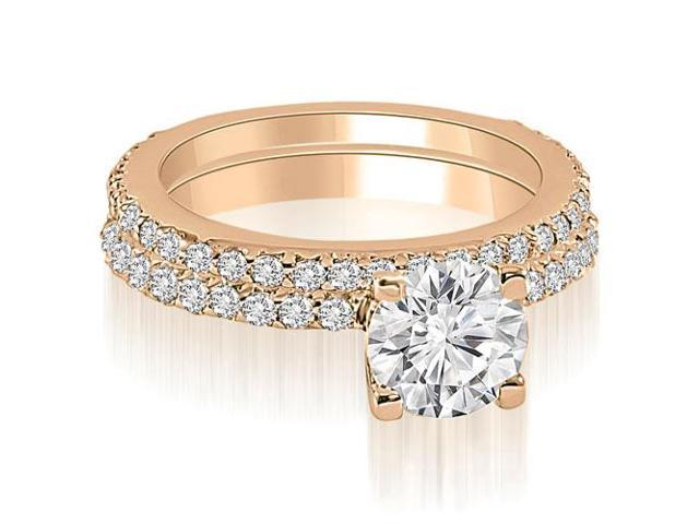 1.76 cttw. Round Cut Diamond Bridal Set in 14K Rose Gold