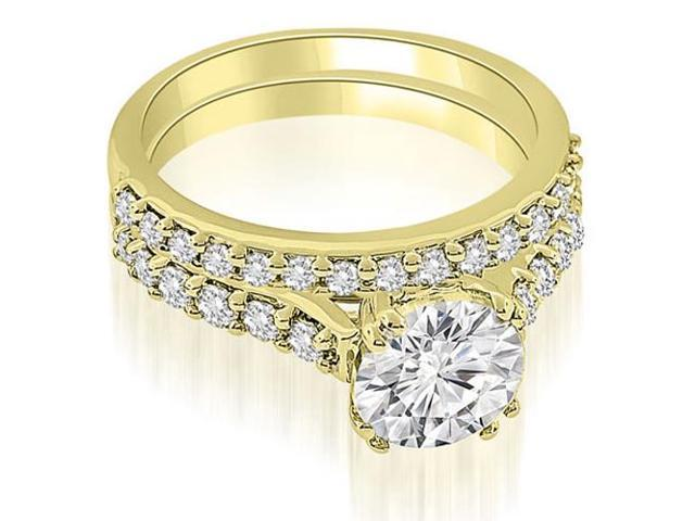 1.30 cttw. Cathedral Round Cut Diamond Bridal Set in 14K Yellow Gold