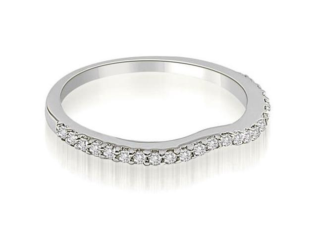 0.24 cttw. Curved Round Cut Diamond Wedding Band in 18K White Gold (VS2, G-H)