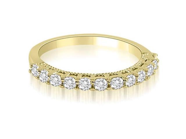 0.60 cttw. Prong Set Round Cut Diamond Wedding Band in 18K Yellow Gold