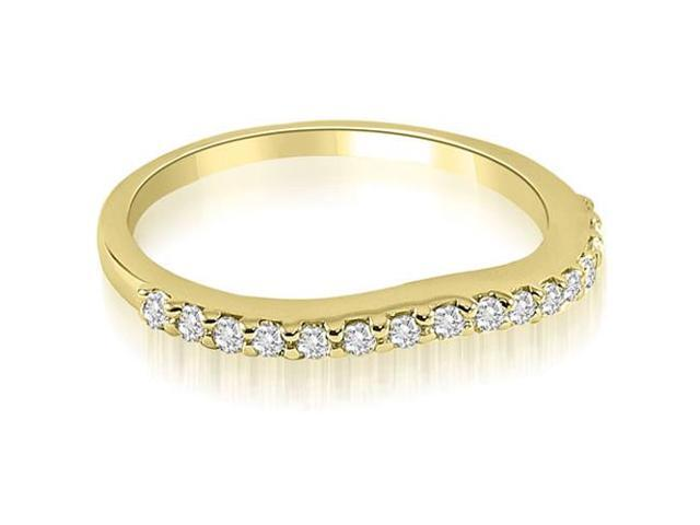 0.25 cttw. Curved Round Cut Diamond Wedding Band in 14K Yellow Gold (SI2, H-I)