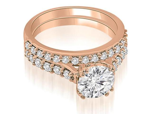 1.05 cttw. Cathedral Round Cut Diamond Bridal Set in 18K Rose Gold