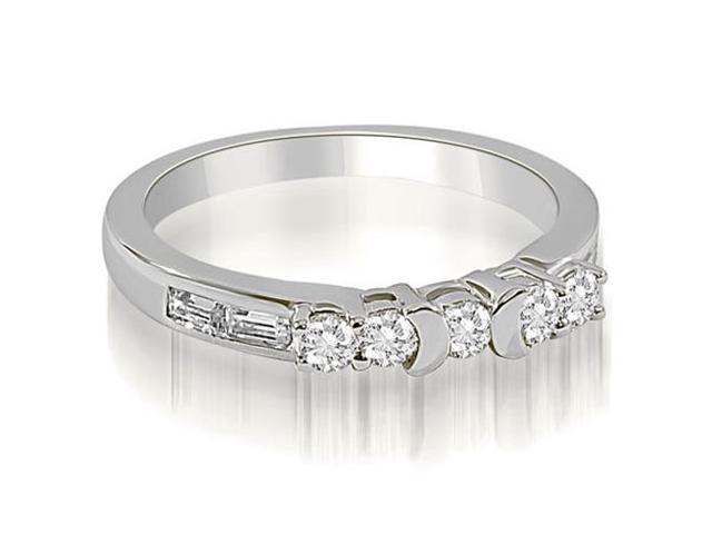 0.60 cttw. Round and Baguette Diamond Wedding Band in 18K White Gold (SI2, H-I)