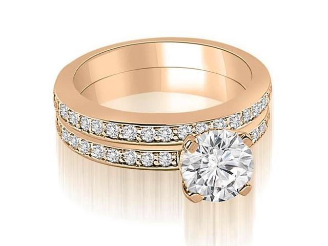 1.10 cttw. Classic Round Cut Diamond Bridal Set in 14K Rose Gold