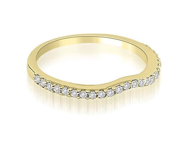 0.24 cttw. Curved Round Cut Diamond Wedding Band in 18K Yellow Gold (VS2, G-H)
