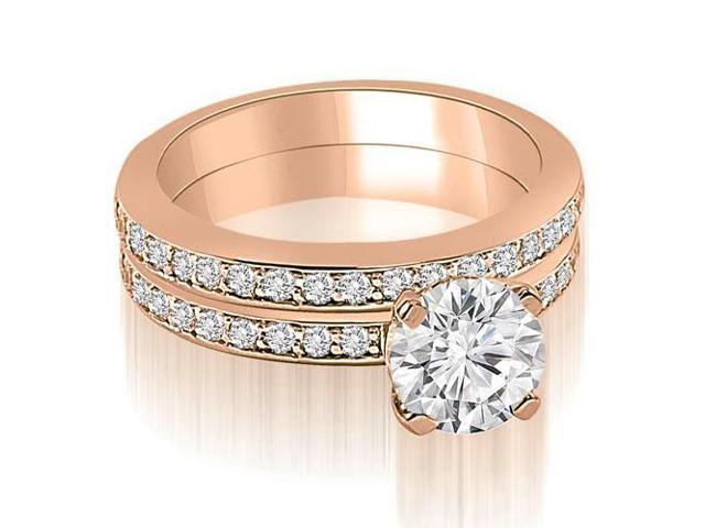1.05 cttw. Classic Round Cut Diamond Bridal Set in 18K Rose Gold