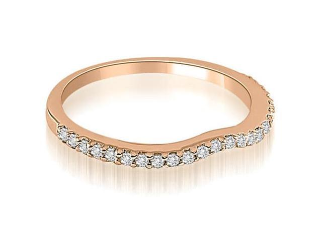 0.24 cttw. Curved Round Cut Diamond Wedding Band in 14K Rose Gold