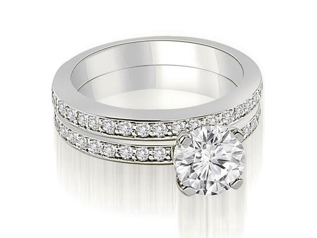 1.10 cttw. Classic Round Cut Diamond Bridal Set in 18K White Gold