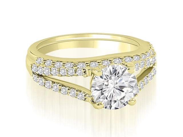 1.32 cttw. Cathedral Split Shank Round Cut Diamond Bridal Set in 18K Yellow Gold
