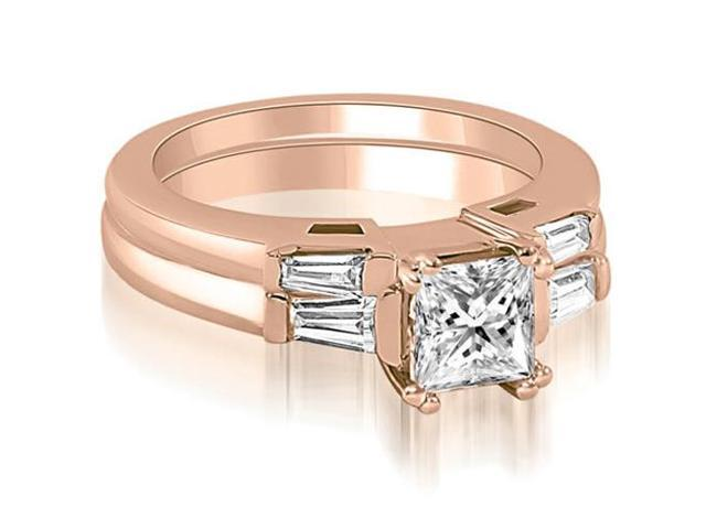 1.30 cttw. Princess Baguette Cut Three Stone Diamond Bridal Set in 18K Rose Gold
