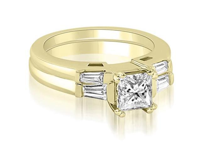 0.80 cttw. Princess Baguette Cut Three Stone Diamond Bridal Set in 18K Yellow Gold