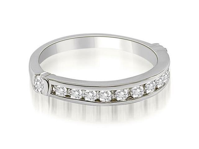 0.45 cttw. Classic Round Cut Diamond Wedding Band in 18K White Gold