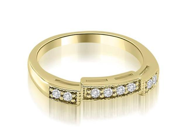 0.15 cttw. Antique Style Milgrain Round Cut Diamond Wedding Ring in 18K Yellow Gold