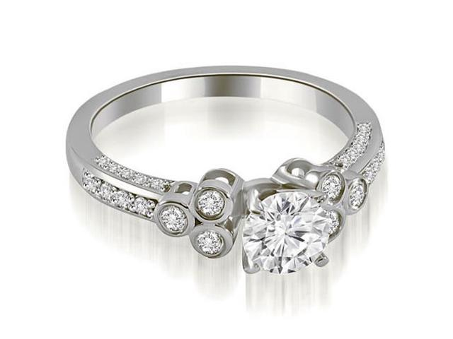 0.92 cttw. Round Cut Diamond Engagement Ring in 14K White Gold (VS2, G-H)