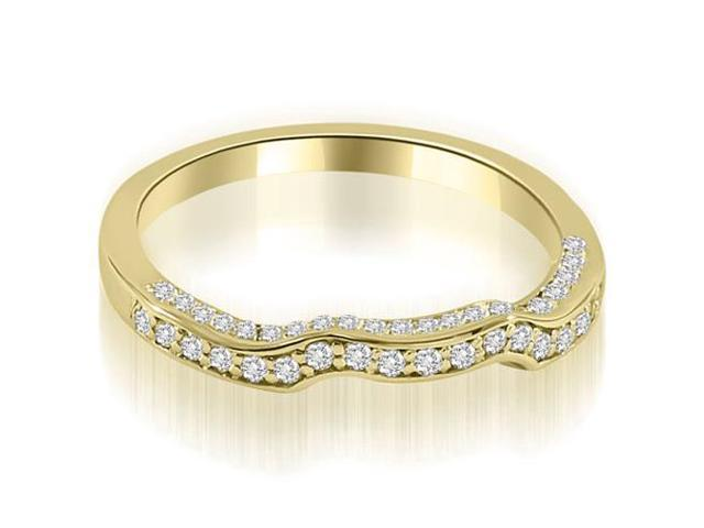 0.27 cttw. Curved Round Cut Diamond Wedding Ring in 18K Yellow Gold