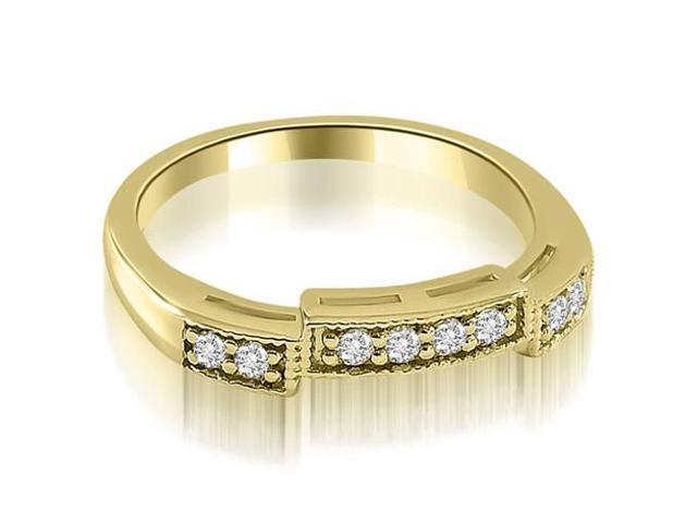 0.15 cttw. Antique Style Milgrain Round Cut Diamond Wedding Ring in 14K Yellow Gold
