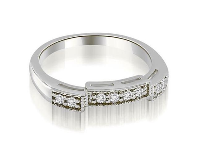 0.15 cttw. Antique Style Milgrain Round Cut Diamond Wedding Ring in Platinum