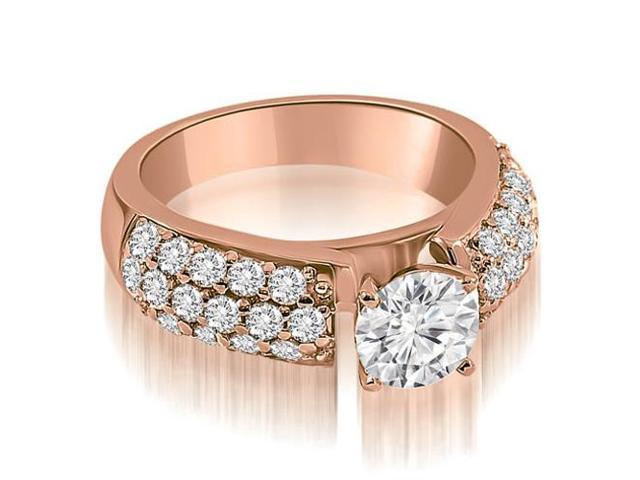 1.45 cttw. Three Row Round Cut Diamond Engagement Ring in 18K Rose Gold (VS2, G-H)