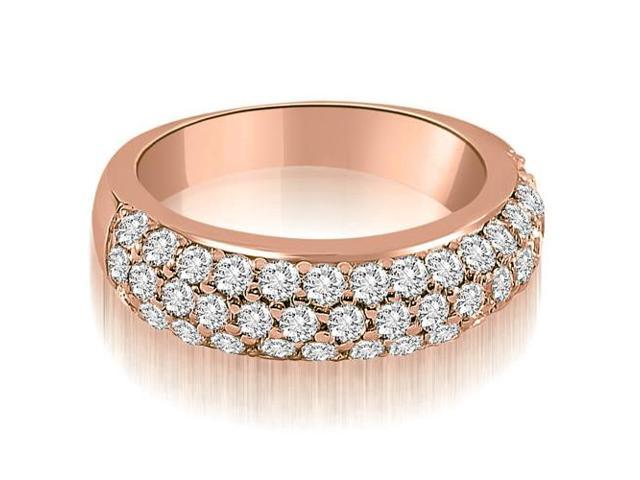 1.30 cttw. Three Row Round Cut Diamond Wedding Ring in 18K Rose Gold
