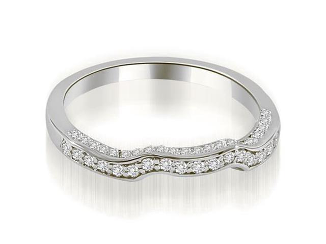 0.27 cttw. Curved Round Cut Diamond Wedding Ring in Platinum