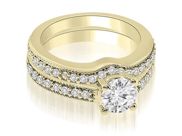 0.99 cttw. Antique Cathedral Round Diamond Bridal Set in 18K Yellow Gold (VS2, G-H)