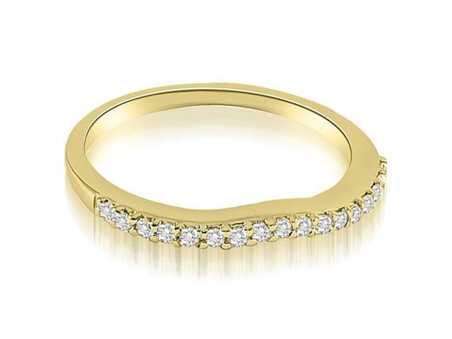 0.13 cttw. Curved Round Cut Diamond Wedding Band in 14K Yellow Gold