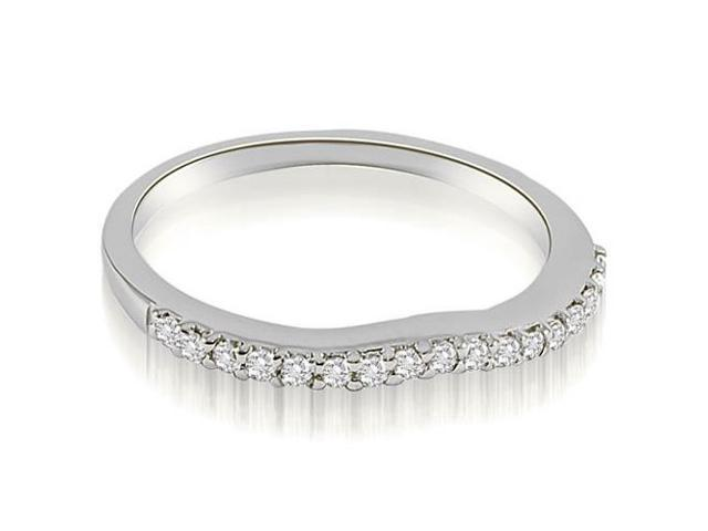 0.13 cttw. Curved Round Cut Diamond Wedding Band in 18K White Gold