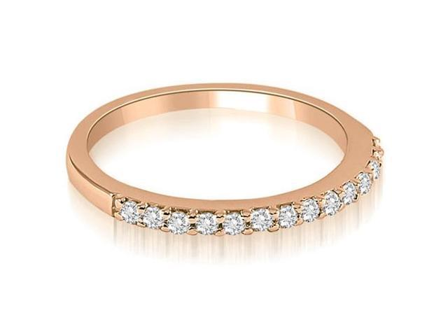 0.21 cttw. Classic Round Cut Diamond Wedding Band in 14K Rose Gold
