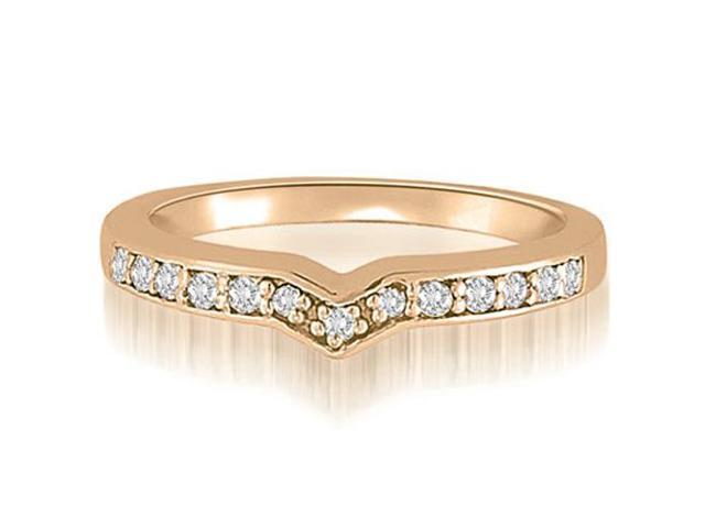 0.20 cttw. Round Cut Diamond Curved Wedding Ring in 14K Rose Gold (SI2, H-I)