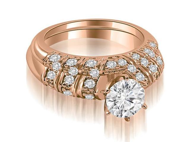 1.35 cttw. Antique Round Cut Diamond Bridal Set in 18K Rose Gold (VS2, G-H)