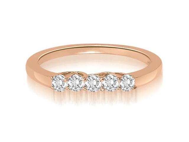 0.25 cttw. Classic Trellis Round Cut Diamond Wedding Ring in 18K Rose Gold (VS2, G-H)