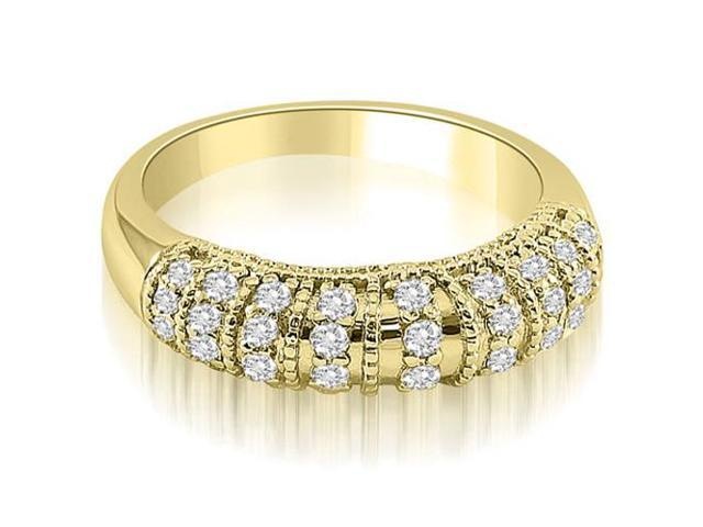 0.45 cttw. Antique Style Milgrain Round Cut Diamond Wedding Ring in 14K Yellow Gold
