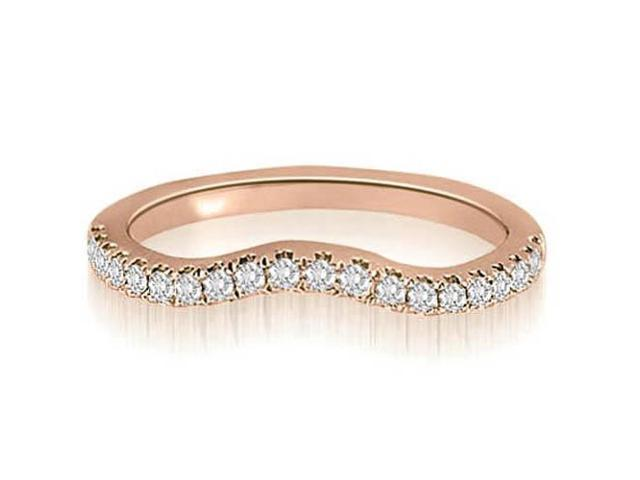 0.25 cttw. Curved Round Cut Diamond Wedding Ring in 18K Rose Gold (SI2, H-I)