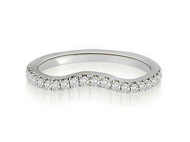0.25 cttw. Curved Round Cut Diamond Wedding Ring in 18K White Gold (SI2, H-I)