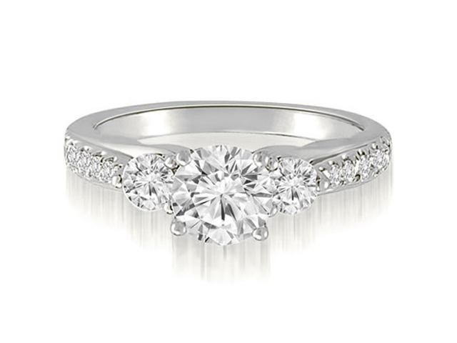 1.17 cttw. Three-Stone Round Cut Diamond Engagement Ring in 14K White Gold (SI2, H-I)