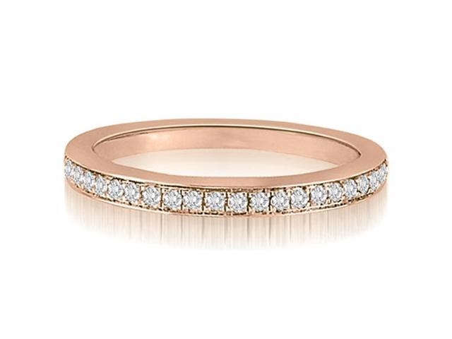 0.15 cttw. Round Cut Diamond Wedding Ring in 18K Rose Gold (SI2, H-I)
